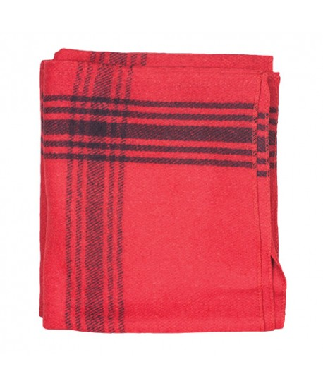 Wool Blanket Navy-Striped Red